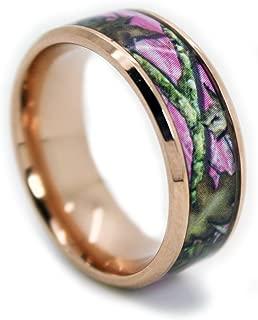 1CAMO Camo Wedding Rings by Pink Camo Titanium Wedding Band - Rose Gold Plated
