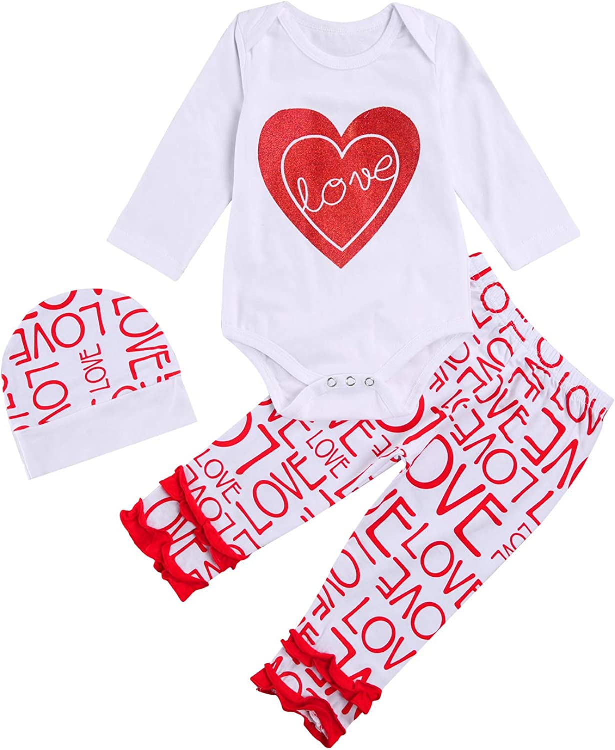 Baby Girl Boy Valentine's Day Outfits Valentine's Day Romper Top Pants My First Valentine's Day Clothes