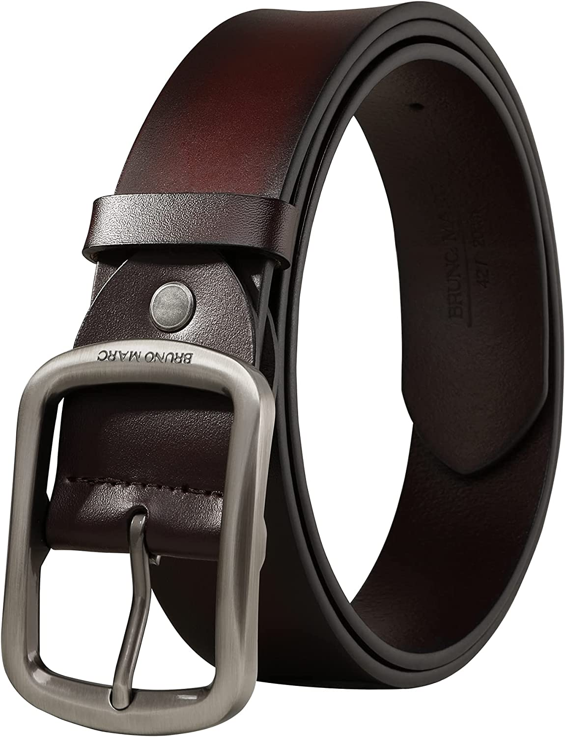 Bruno Marc Men's Dress Leather Belt Casual Jeans Belts for Men with Prong Buckle