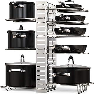 GeekDigg Pot Rack Organizer, Adjustable Height and Position, Kitchen Counter and Cabinet Pan Organizer Shelf Rack/Pot Lid ...