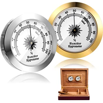 2 Pieces Cigar Hygrometer Analog Cigar Humidor Hygrometer Mechanical Round Hygrometer Humidity Gauge for Humidor Cigar Cabinet Cigar Cans, 2 Inch, Gold and Silver