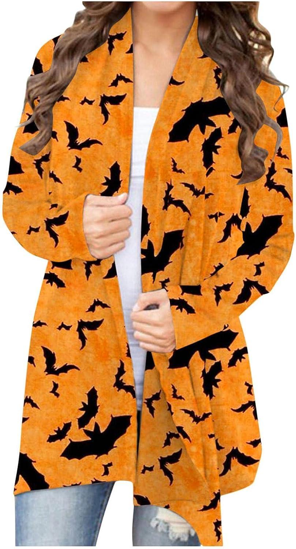 MASZONE Womens Halloween Plus Size Long Sleeve Open Front Cardigan Sweatshirt Cute Pumpkin Black Cat Lightweight Coat