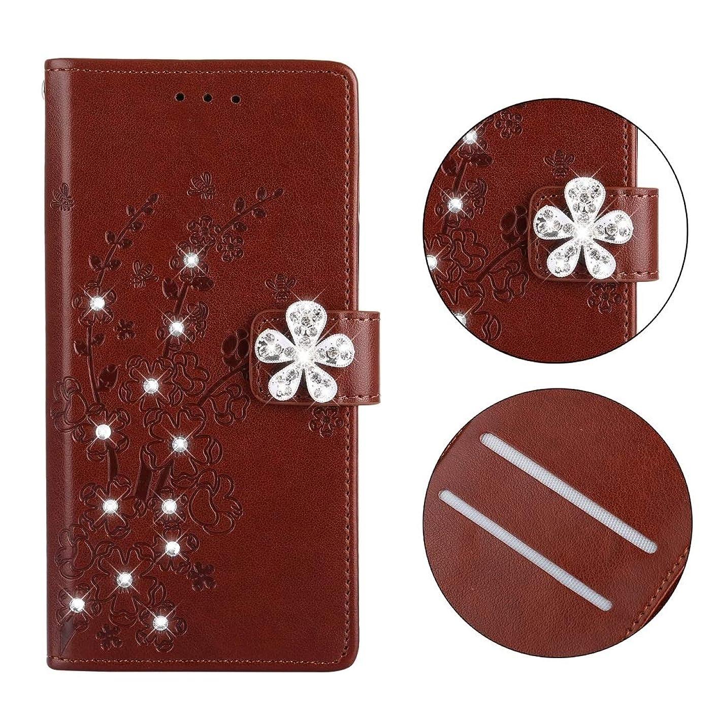 下手ボクシングクランシーホルダー&カードスロットを持つ小米科技Redmi 5梅の柄ダイヤモンドがちりばめられたレザーケースのための携帯電話ケース、 brand:TONWIN (Color : Plum brown)