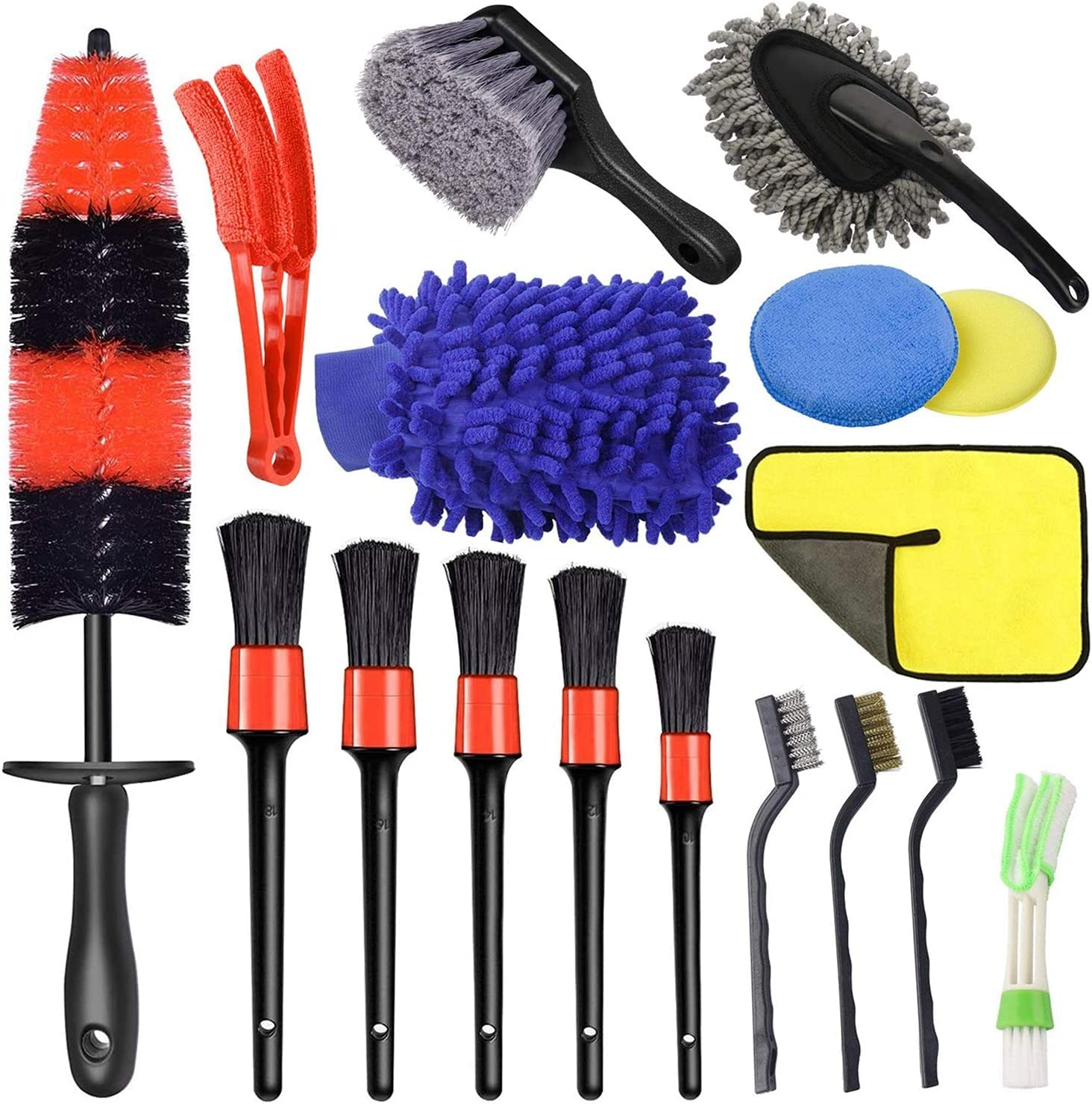 YXIUER 17 Pcs Store Car Wheel Brush Kit Lo Set 13.5inch Superior Detailing
