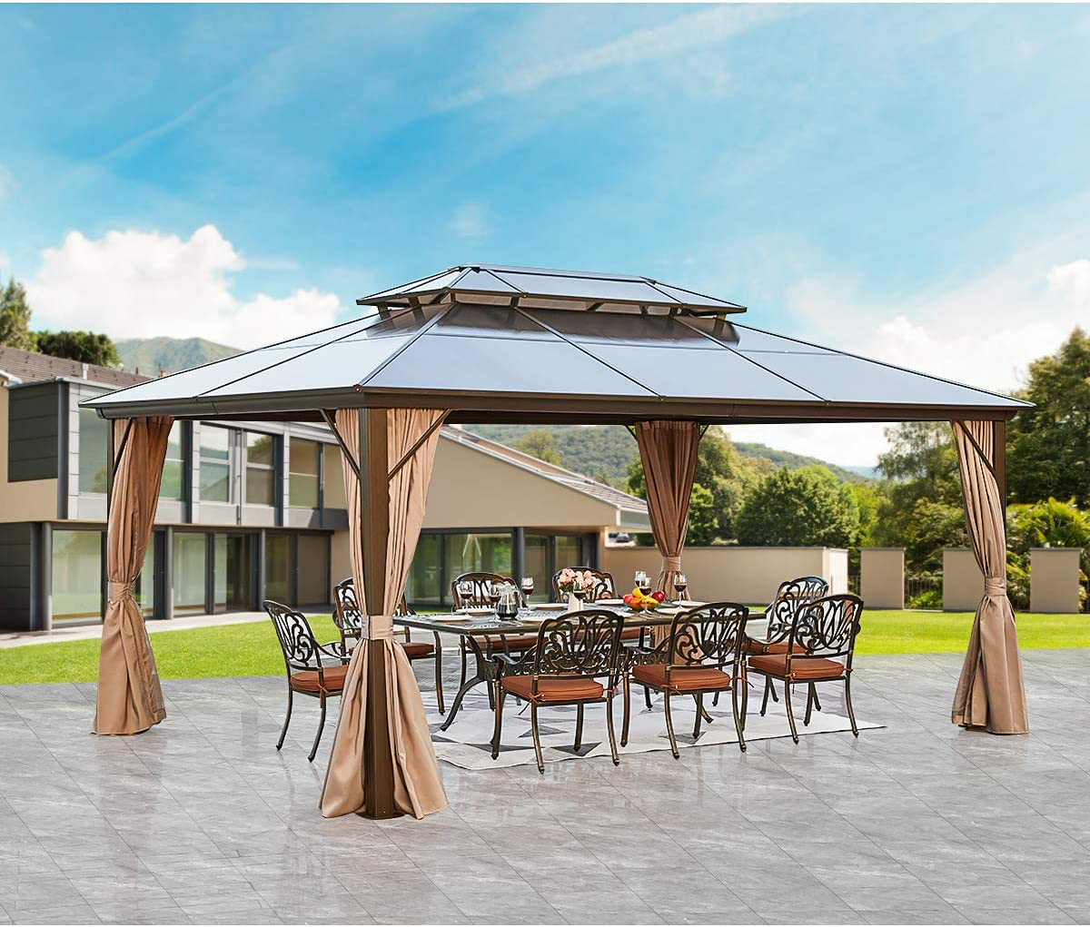 MELLCOM 12'x16' Portland Mall Courier shipping free shipping Outdoor Polycarbonate Roof Gazebo Hardtop Double