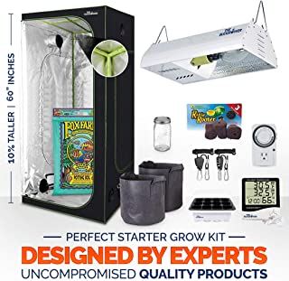 24''x24''x60'' Indoor Grow Tent (Extra tall/Hulk Series) + 150W HPS Full Spectrum Light unit + Premium Soil + Hangers + Seedling Dome +TempHygrometer + 24-Hour Time + Cloth pots + Soil pods + Form'Jar