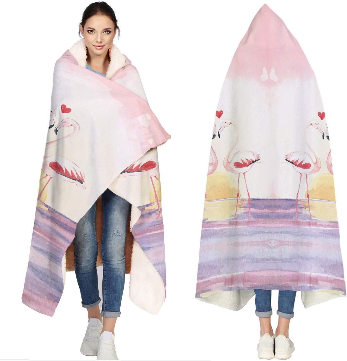 Seven Roses Hooded 35% Don't miss the campaign OFF Blankets for Bat - Flamingo Adults Beautiful