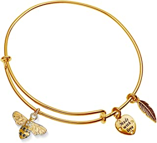 Enni of York Crystal Rhinestone Bee Charm Gold-Tone Expandable Bangle Bracelet