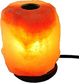 JIC Gem Aroma Himalayan Salt Lamp with Small Plate to Diffuse Essential Oils, Natural Hand Carved Salt Rock Night Light Aromatherapy Lamp