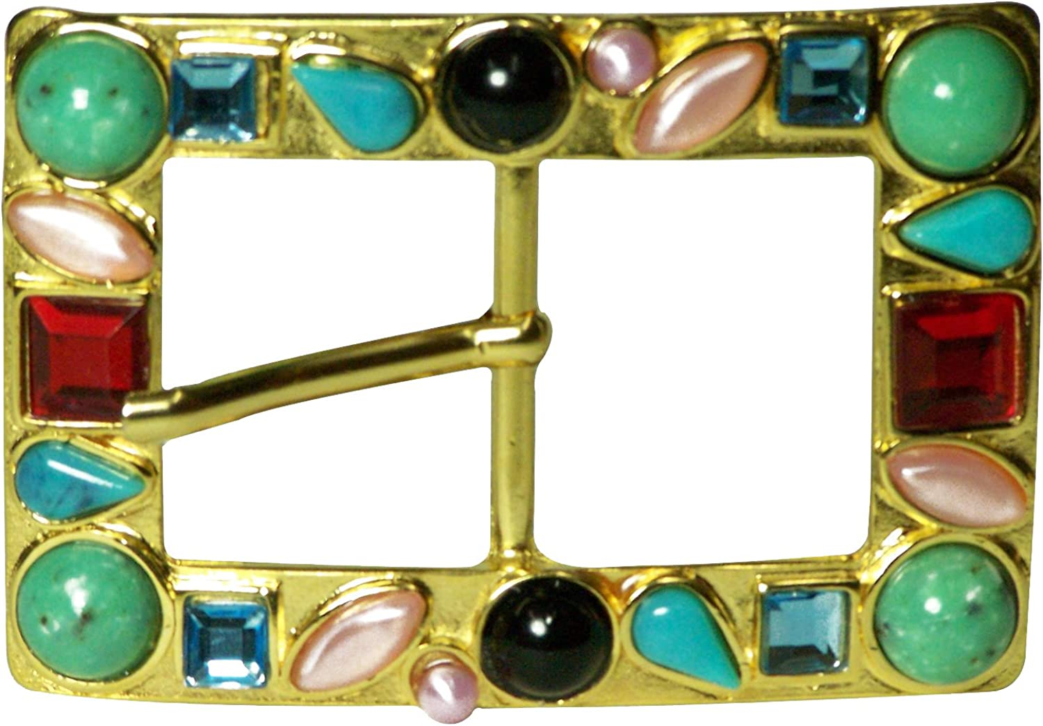 FRONHOFER   Women's buckle   gold with colorful stones   Glamgoldus belt buckle, One Size One Size, color gold