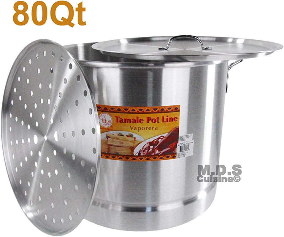 80 Qt Tamale Steamer Vaporera Stock Pot Premium Aluminum Tamalera 20 Gallons