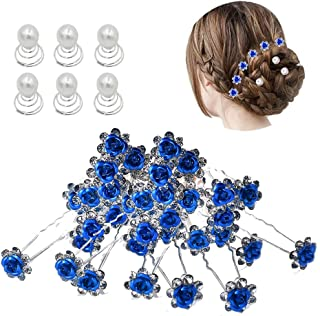 inSowni 40pcs Bridal Wedding Rhinestone Rose Flower U-shaped Hair Pins & 6pcs Twist Pearl Hairpins Headpiece Set in Gift B...