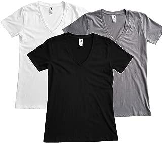 Women's Luxury Cotton V-Neck T-Shirts Mid Weight Preshrunk 3-Pack