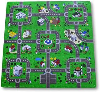 Alfombra puzzle de goma EVA para niños. Diseño de circuito de tráfico. 1 cm. de espesor. 9 piezas intercambiables. Modelo 2