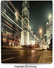 Painting on Canvas Print Shanghai Lujiazui Finance and Trade Zone of The Modern City Nighttime View Wall Art Picture for Living Room Bedroom Wall Decor (16 x 24 inch, Framed) Bronze Black White