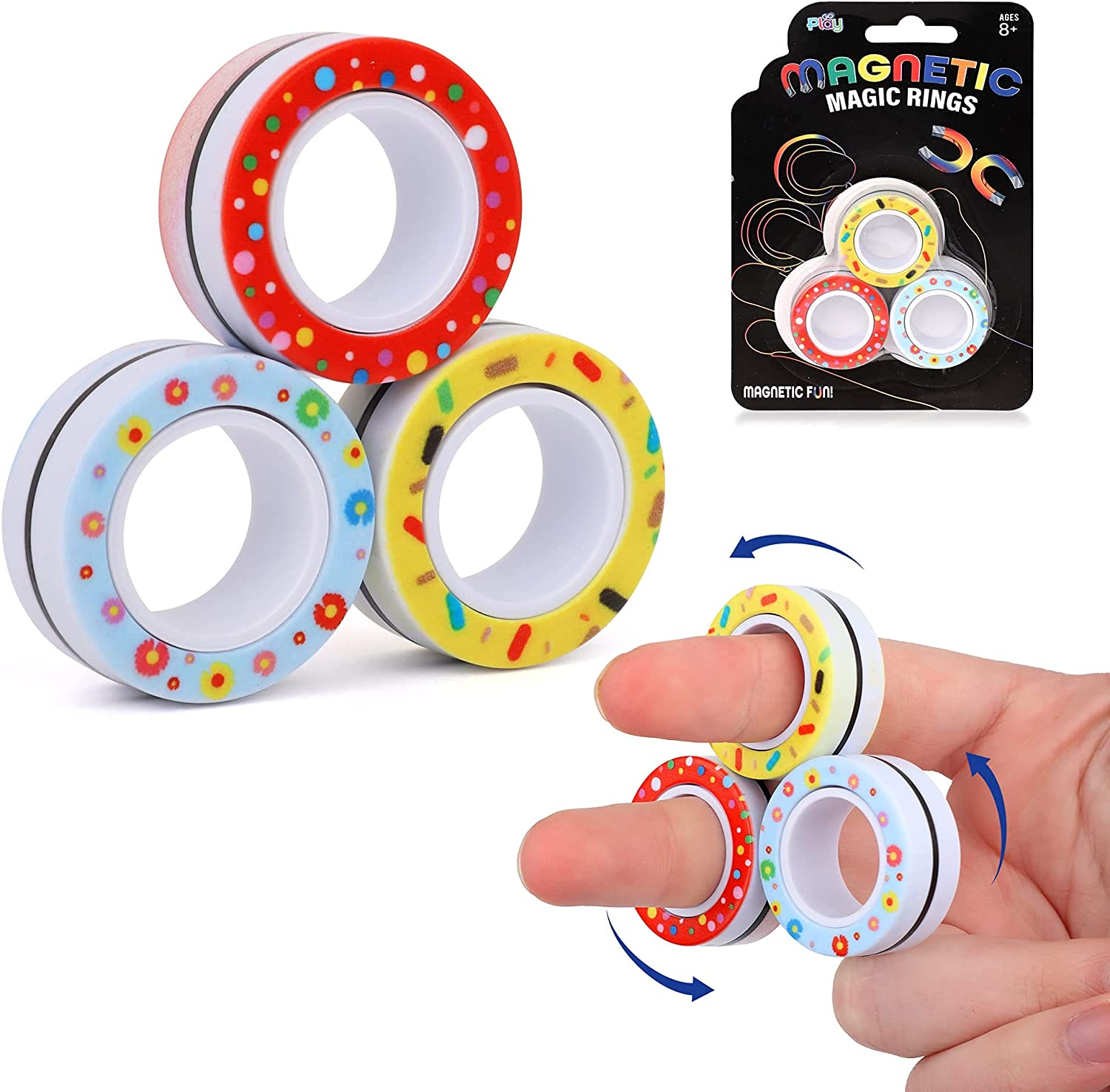 Go Play Magnetic Magic Fidget Toy Stress T Relief Pack latest 3 New life Rings