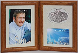 5x7 SON & FOREVER IN MY HEART Poem ~ HINGED Double Memorial/Bereavement/Condolence/Sympathy/Tribute/Funeral Keepsake Picture Photo Frame (FRUITWOOD)