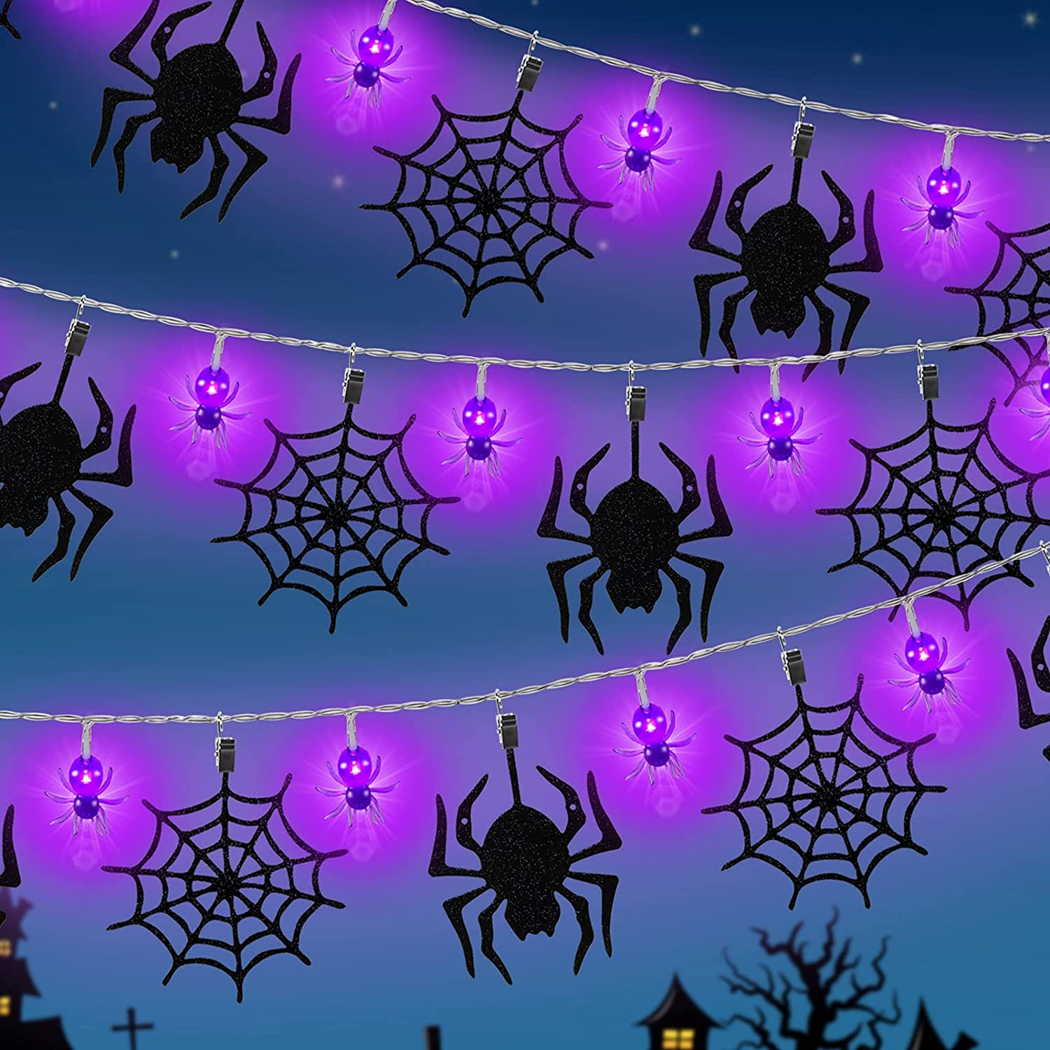 Halloween String Lights Decoration lowest price Battery High quality new LED Operated Spider S