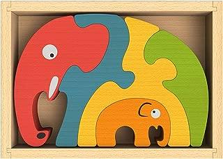 BeginAgain Elephant Family Puzzle - Creativity and Storytelling Skills - 5 Piece Set, Kids 2 and Up
