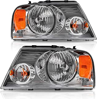Headlight Assembly Kit, Headlamps Replacement for 2004 2005 2006 2007 2008 Ford F150 Pickup Passenger and Driver Side, Chrome Housing Amber Reflector