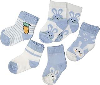 SYEEGCS - Calcetines para niños y niñas, de algodón, 5 pares, transpirables, cómodos, modelo Ravanillo, conejo, color azul