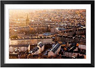 Cityscape City Houses Buildings Street - Natural Scenery Art Print Home Decor Wooden Frame Poster(Black Frame 12x16inch)