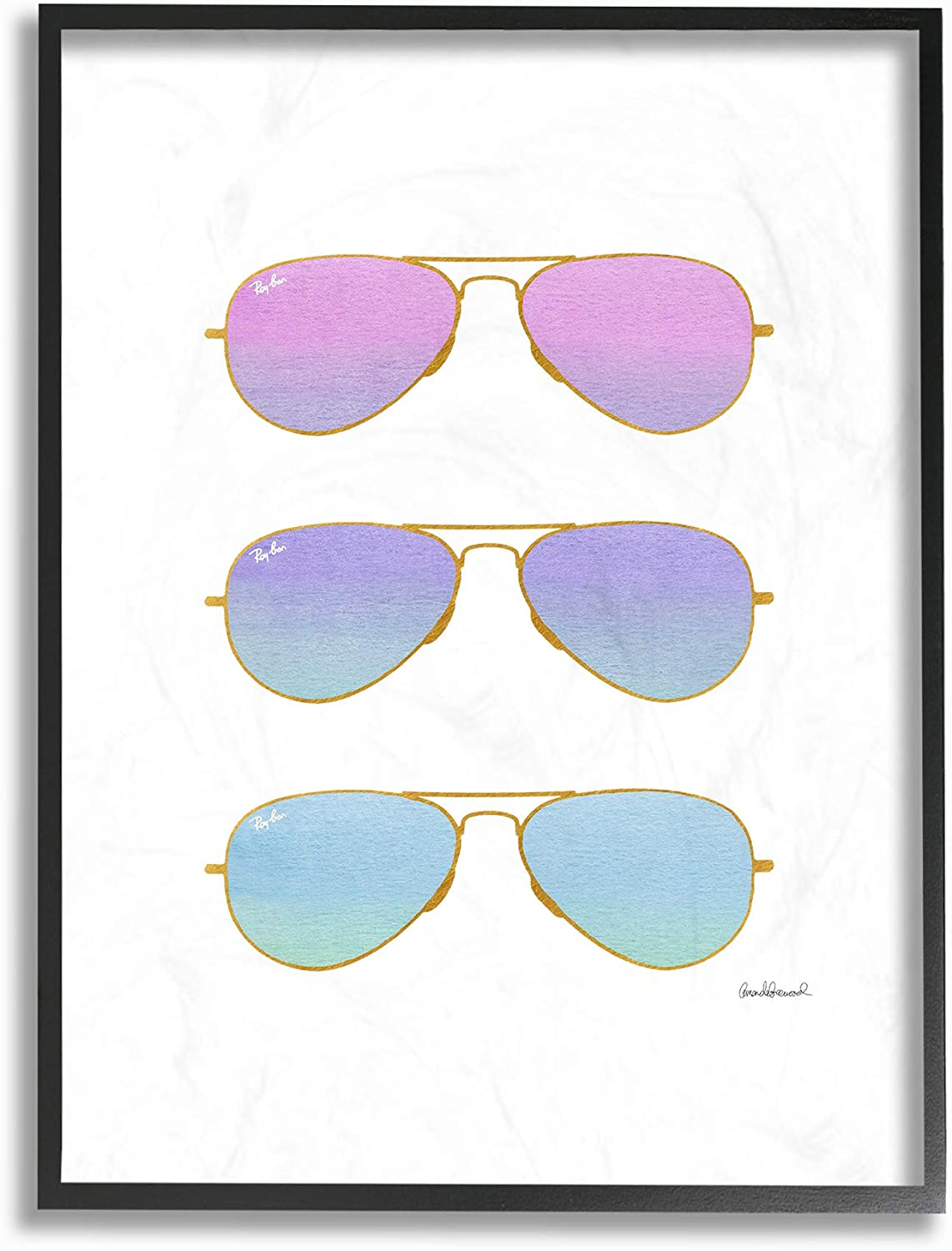 Stupell Industries Home Pink Purple and bluee Sunset Ombre Aviator Sunglasses Framed Giclee Texturized Art, Multi-color