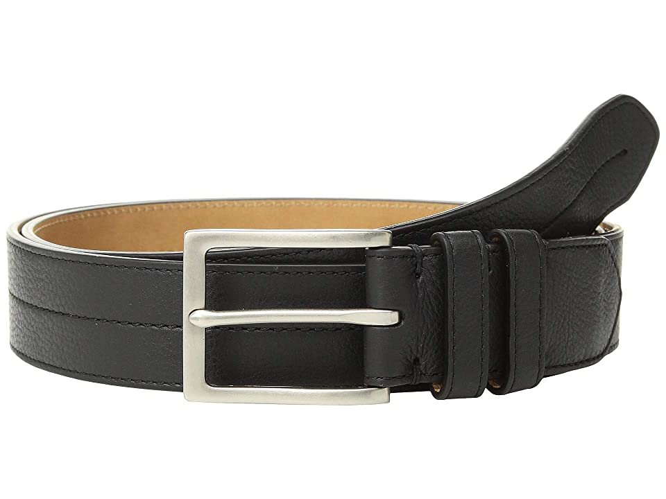 Cole Haan 35 mm. Pebble Leather Belt w/ Center Stitch (Black/Tumbled Nicke) Men