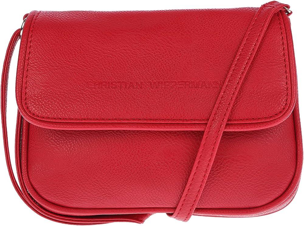 Christian wippermann borsa a spalla per donna in pelle sintetica rossa