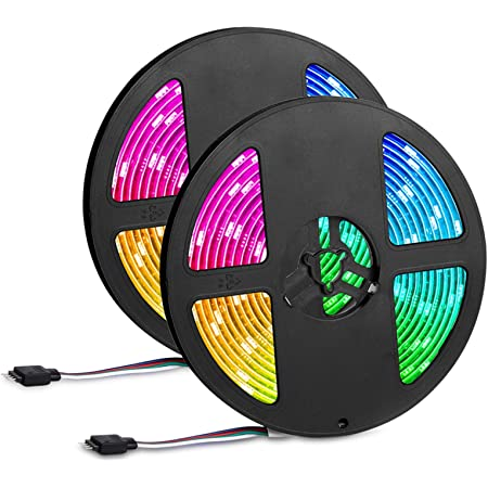Led Strip Lights 32.8ft,IP65 Waterproof 300 LEDs 5050 RGB Strip Lights Colored Rope Light Strip Kit with 44 Keys IR Remote Controller and 12V Power Supply for Home,Kitchen,Festival Decoration
