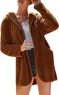 BEERICHH Women Fleece Coat Autumn Winter Fashion Hoodie Cardigan Overcoat Chic Simple Long Sleeve Plush Outwear Jacket