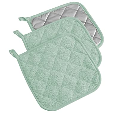 DII 100% Cotton, Quilted Terry Oven Set Machine Washable, Heat Resistant with Hanging Loop, Potholder, Mint 3 Piece
