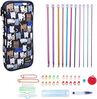 Teamoy Aluminum Tunisian Crochet Hooks Set, Afghan Kits with Case, 11pcs 2mm to 8mm Afghan Hooks and Accessories, Compact and Easy to Carry, Blue Cats