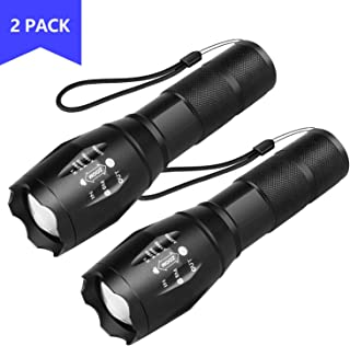 HARMONIC LED Tactical Flashlight, Super Bright Flashlights with 5 Modes, Zoomable, IP65 Water Resistant Handheld Light Powerful Camping Outdoor Emergency Everyday Flashlights (2 Pack)