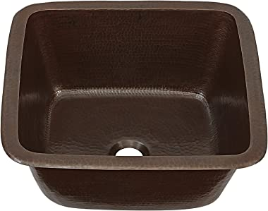"""Sinkology SP501-15AG Greco Dual Mount Handmade Pure Solid, 15"""", Aged Copper Bar Prep Sink"""
