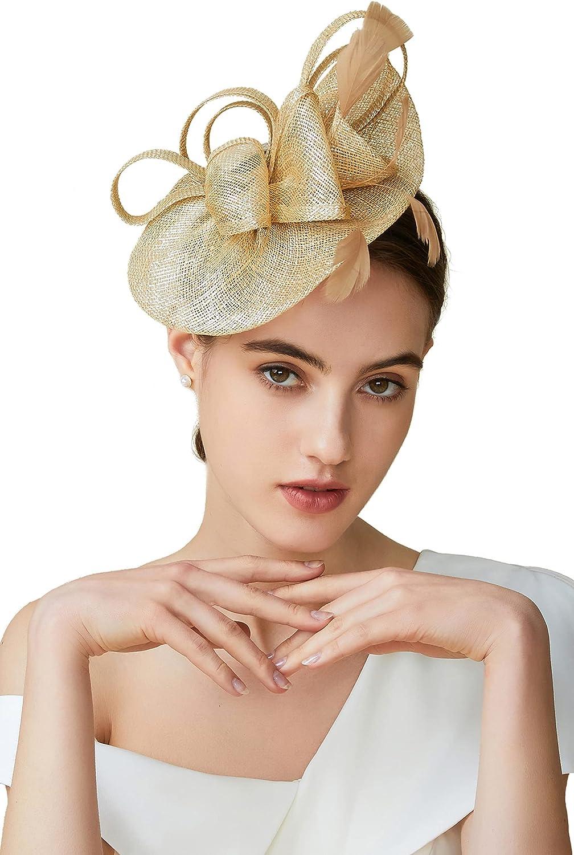 BABEYOND Tea Party Fascinator Kentucky Derby Hat Fascinator Pillbox Hat Headband for Cocktail