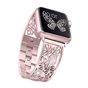 Secbolt Carved Flower Bling Bands Compatible with Apple Watch Band 38mm 40mm iwatch SE Series 6/5/4/3/2/1, Stainless Steel Dressy Jewelry Diamond Bracelet Bangle Wristband Women, Rose Gold