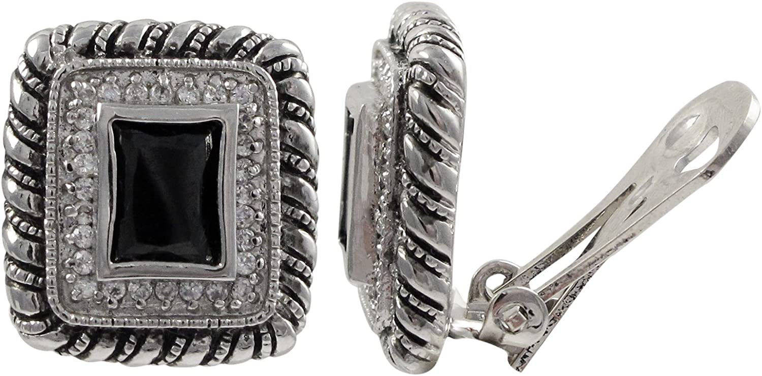 Isaac Kieran Rhodium Finish Black and White Cubic Zirconia Square Clip-on Earrings