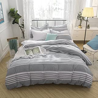 Merryfeel Cotton Duvet Cover Set,100% Cotton Seersucker Stripe Duvet Cover Set, Yarn Dyed Bedding Set,3 Pieces - Full/Queen - Grey