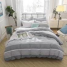 Merryfeel Seersucker Quilt Cover Set,100% Cotton Yarn Dyed Seersucker Woven Stripe Doona Cover Set -Queen Grey