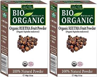 Indus Valley Bio Organic Reetha Powder 100% Organic & Chemical Free Skin Cleanser (200 Grams)