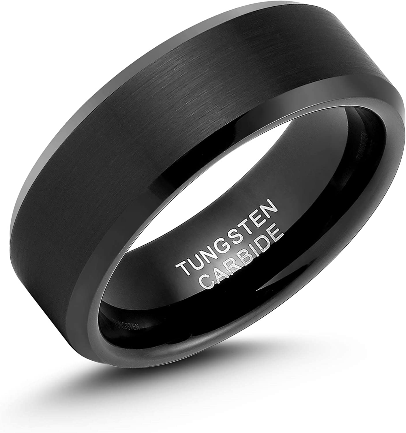 LerchPhi Mens 8mm Black Tungsten Carbide Ring Matte Brushed with Bevelled Edge Free Personalized Custom Name Date Coordinates Engrave Supported Comfort Fit Wedding Band