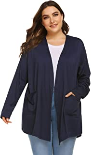 IN'VOLAND Womens Plus Size Cardigan Long Sleeve Open Front Fall Loose Draped Cardigans with Pockets