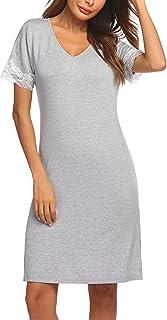 ADOME Women Sleepwear Nightgown Lace Sleepshirt Dress V Neck Full Slip Short Sleeve Chemise Soft Modal Pajamas Lougewear