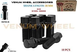 Venum wheel accessories 10 Pcs Black Powder Coated M14x1.5 Conical Seat Lug Bolts 28 mm Factory Shank Length Works with Volkswagen Audi BMW Mercedes Benz Porsche Vehicle W/Aftermarket Wheels
