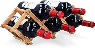 Navaris Estante para almacenar Botellas de Vino - Botellero pequeño de bambú para 5X Botella - Estantería pequeña Plegable...
