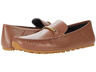 COACH Collapsible Heel Leather Driver (Dark Saddle) Men