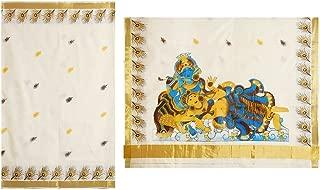 DollsofIndia Radha Krishna Painting on Off-White Kasavu Saree (RM49)