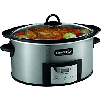 Crock-Pot, 6-Quart, Countdown Programmable Oval Slow Cooker with Stove-Top Browning, Stainless Finish SCCPVI600-S