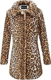 Giolshon Cappotto da donna in pelliccia sintetica con stampa leopardata, capispalla soffice caldo invernale